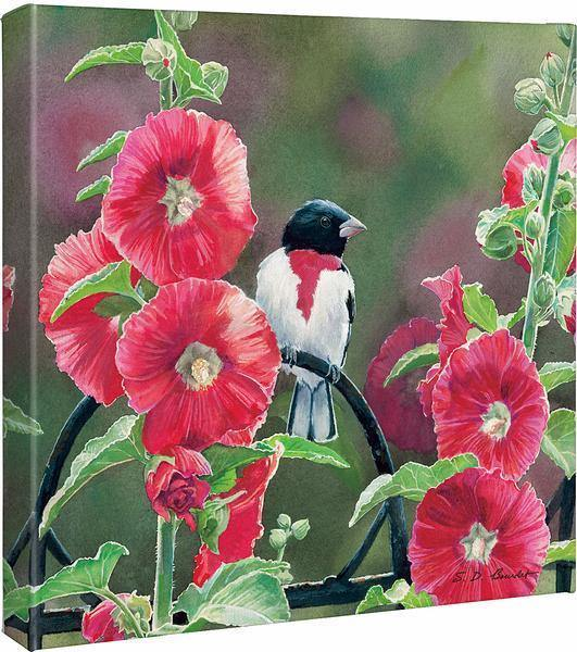 Grosbeaks and Hollyhocks.