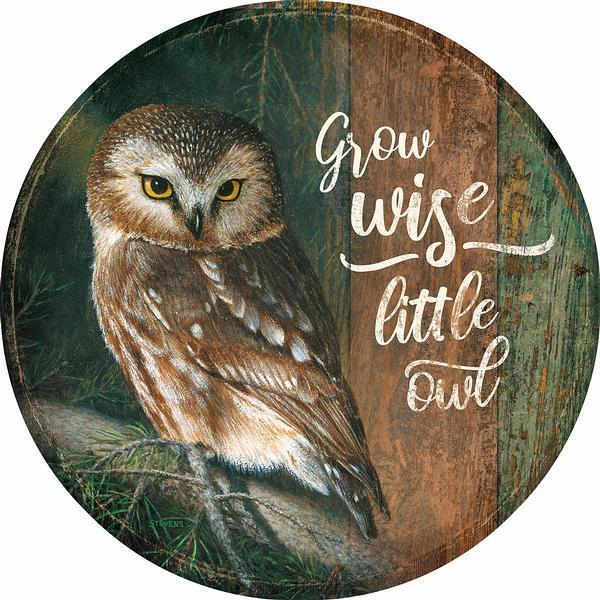 <I>Grow Wise Little Owl</i> 12 Round Wood Sign