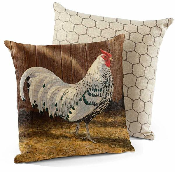 Hamburg—silver Spangled Rooster 18 Decorative Pillow