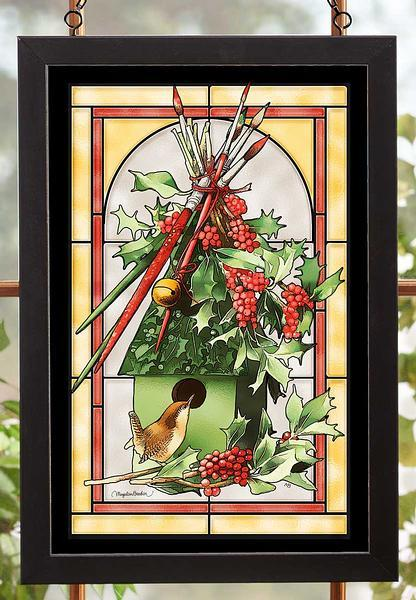 Happy Holly Days Stained Glass Art
