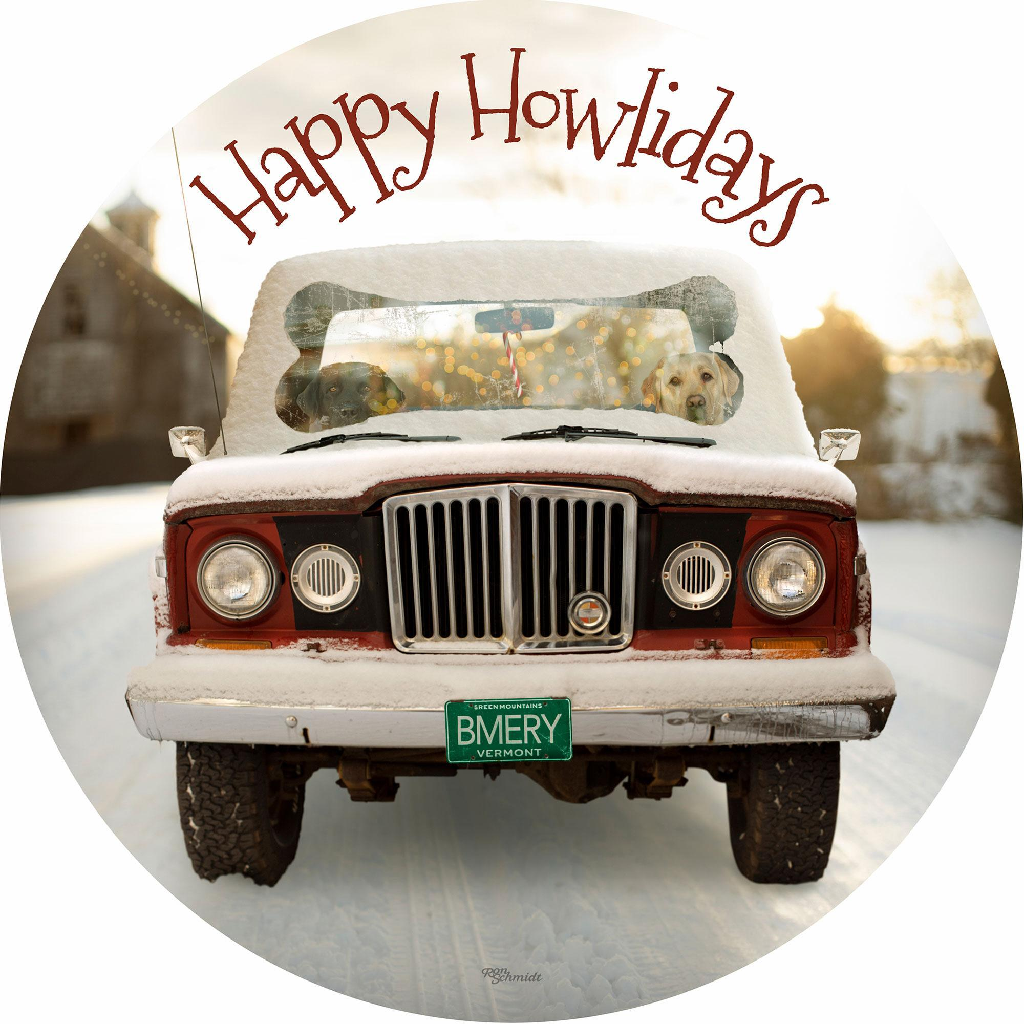 "Happy Howl-idays 21"" Round Wood Sign"