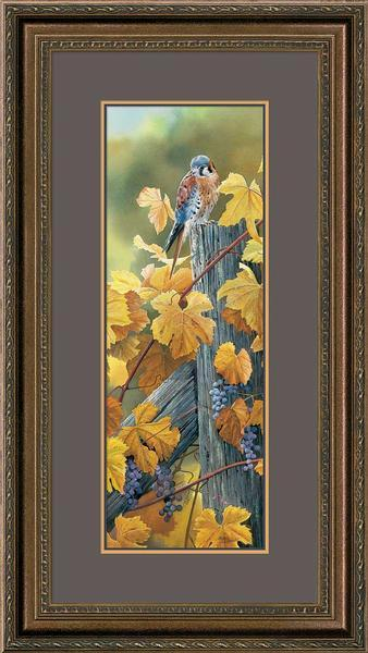 <I>Harvest Gold&mdash;kestrel</i> Framed Ltd. Remarque Print<Br/>32H X 16.5W Art Collection