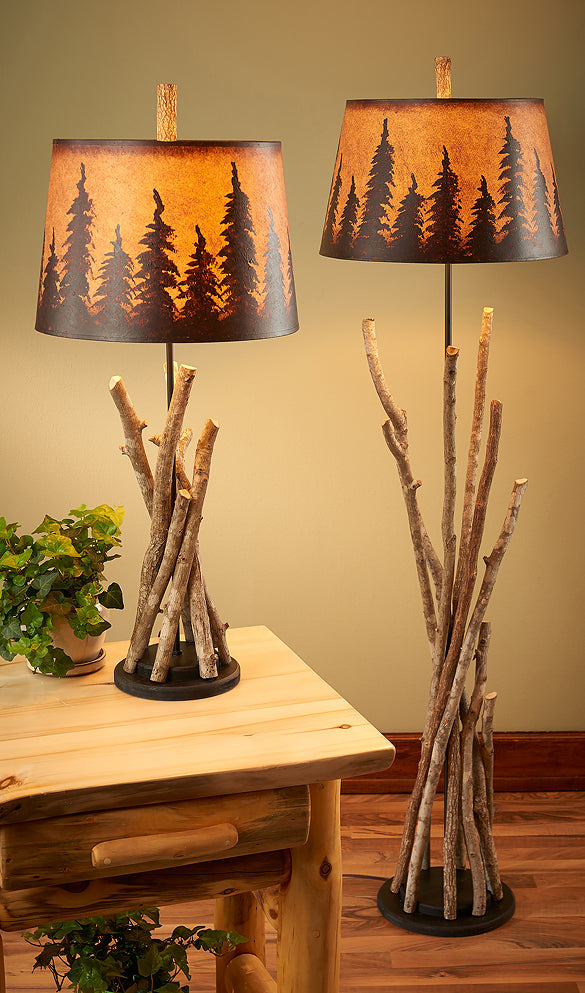 Hickory Twig Table & Floor Lamp