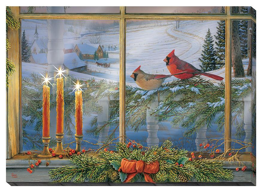 Holiday Friends—cardinals Lighted Wrapped Canvas