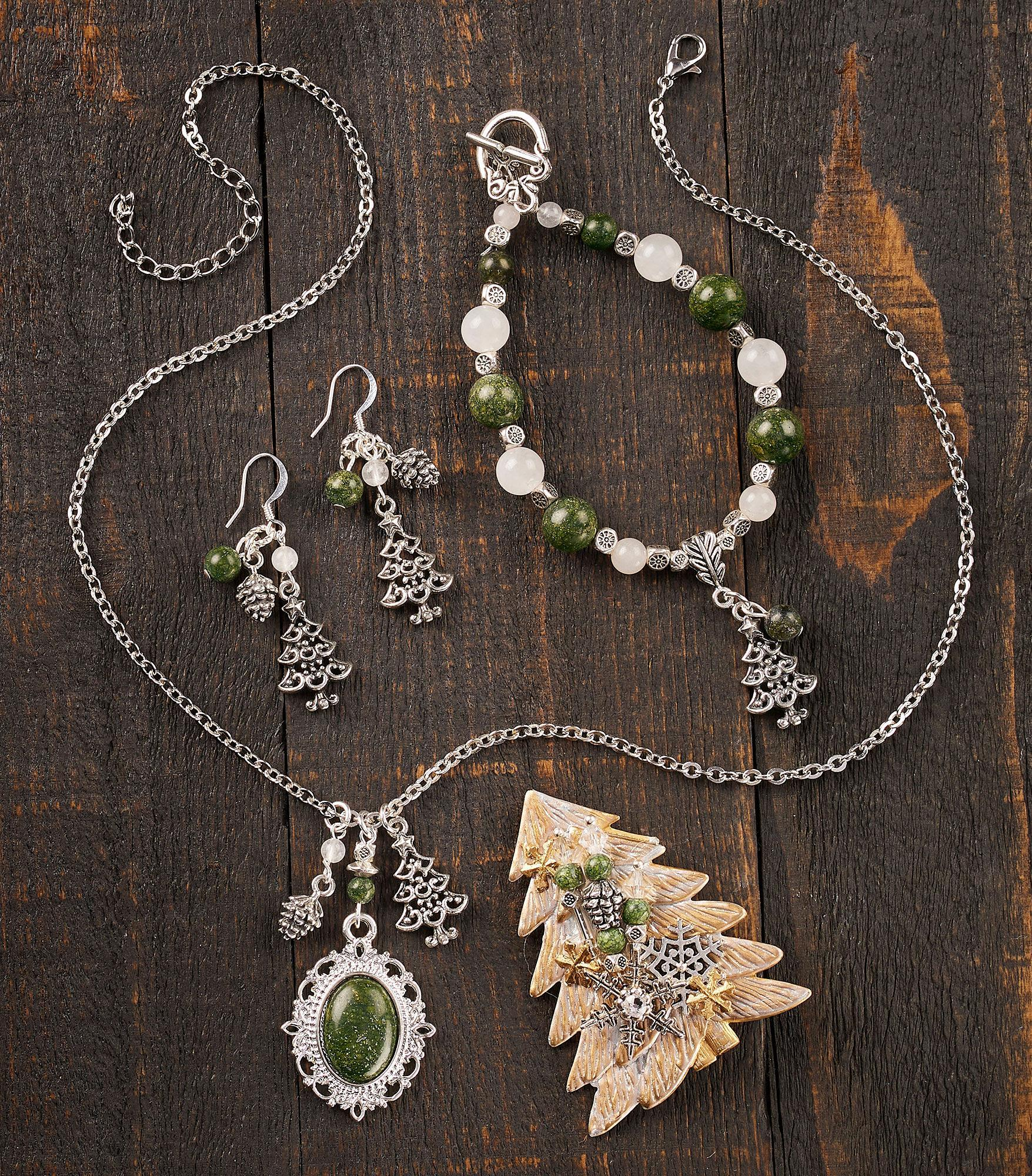 Winter Pines Necklace, Earrings & Bracelet