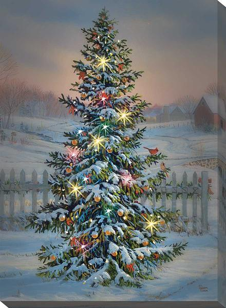 Holiday Tree Lighted Wrapped Canvas