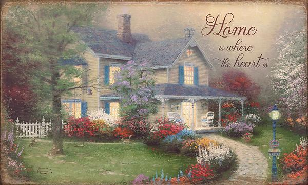 <I>Home Is Where The Heart Is</i> 18 X 30 Wood Sign