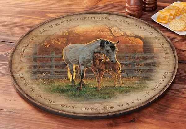 Quiet Time—horses Lazy Susan Turntable