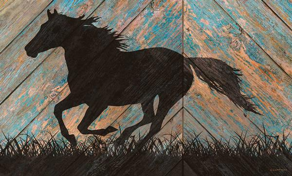 <I>Horse Silhouette</i> 18 X 30 Wood Sign
