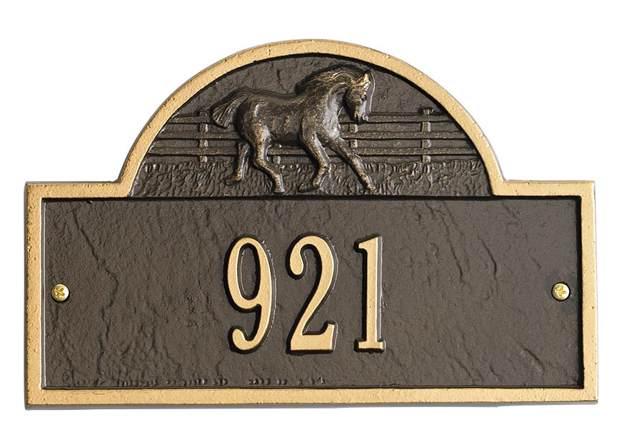 Black & Gold Horse Address Plaque