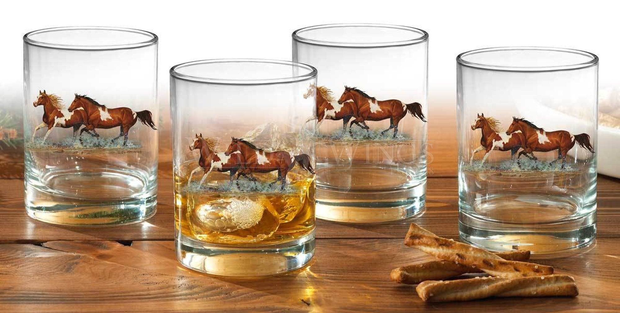 Horses Double Old Fashioned Glasses (Set of 4)