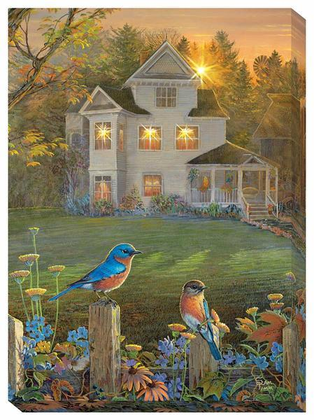 House & Bluebirds Lighted Wrapped Canvas