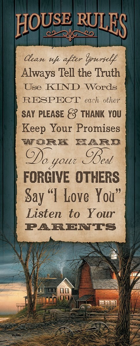 House Rules 12 X 30 Wood Sign
