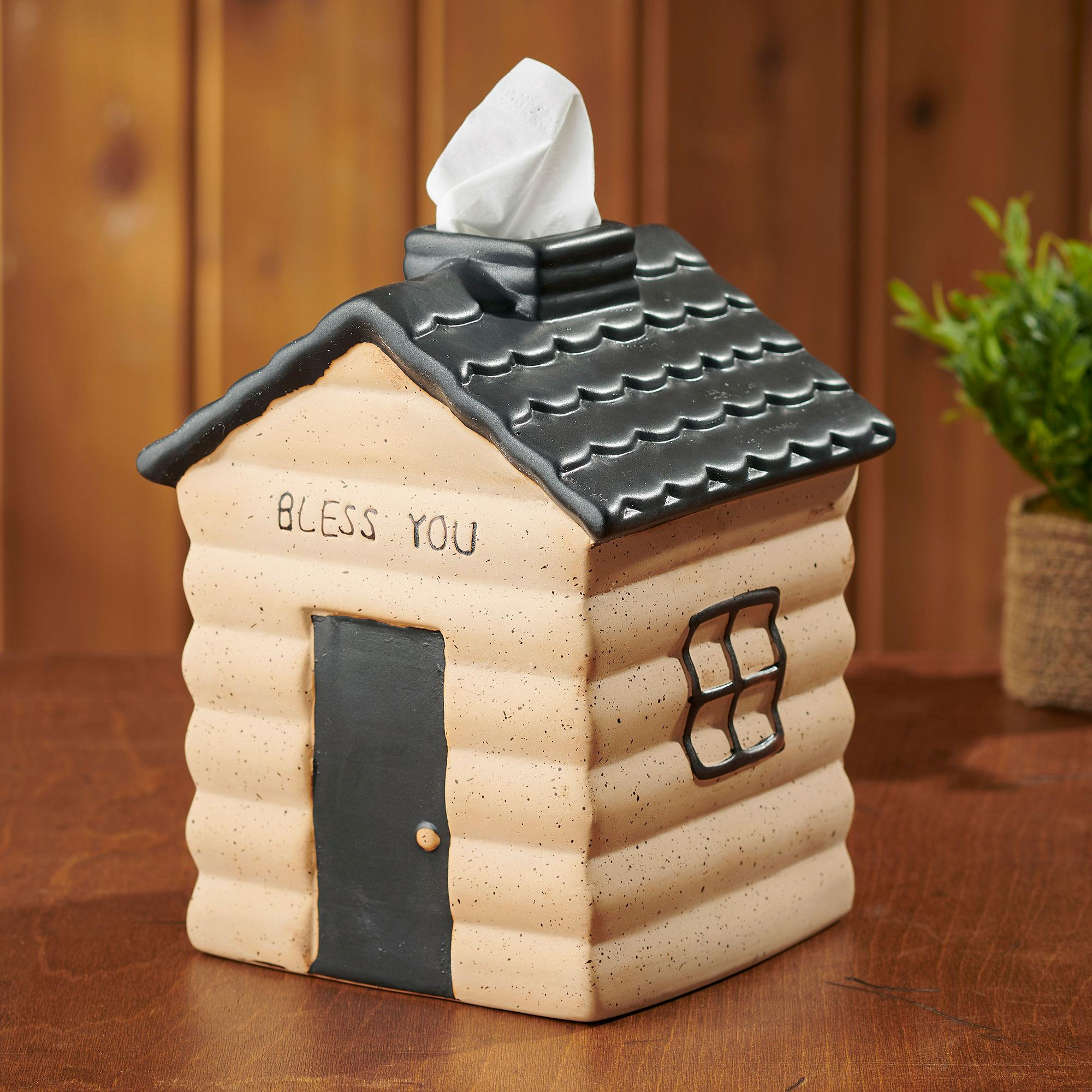 Bless You Log Cabin Tissue Box Cover