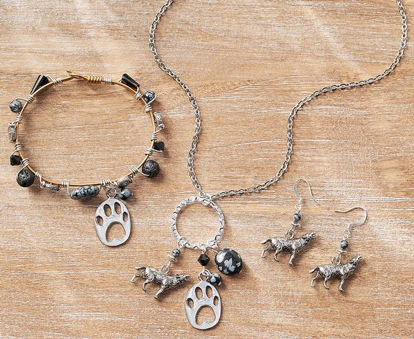 Howling Wolf Necklace, Earrings & Bracelet