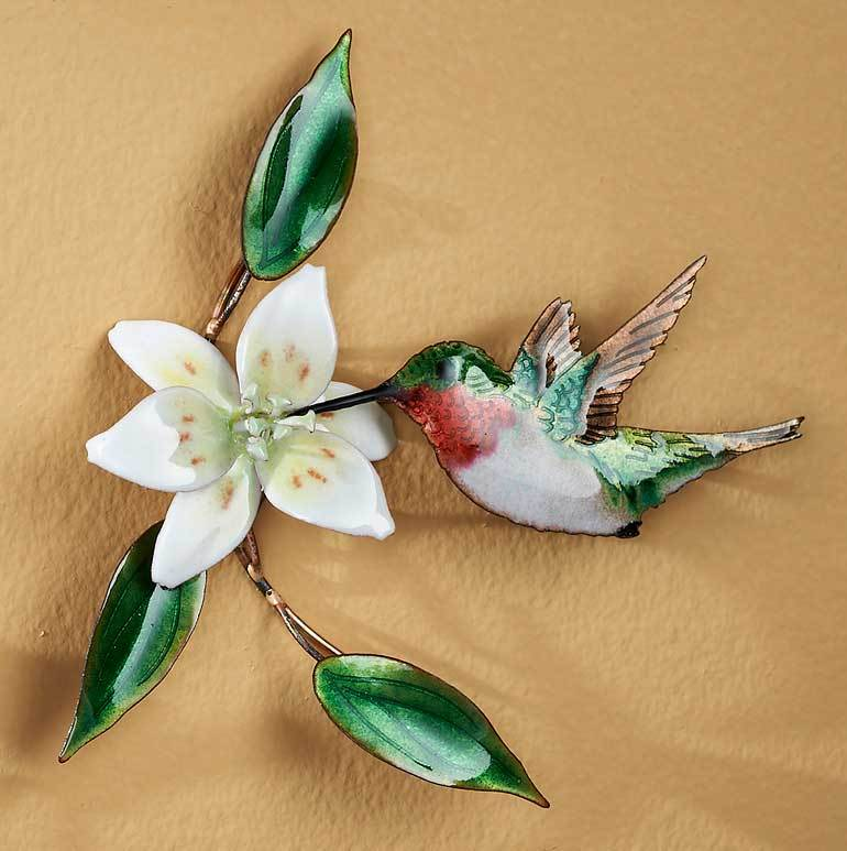 Hummingbird With Wood Lily Enamel Wall Art