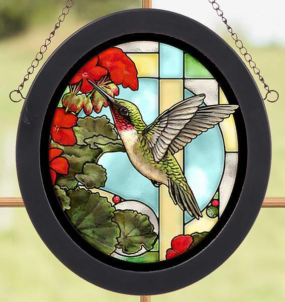 Hummingbird & Geraniums Stained Glass Art