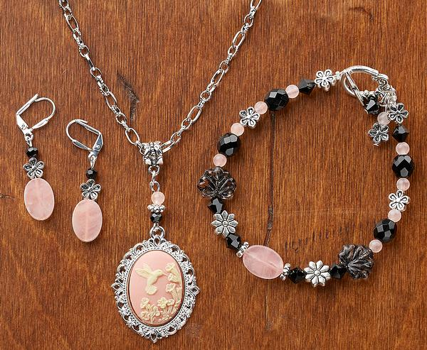 Hummingbird Rose Necklace, Earrings & Bracelet