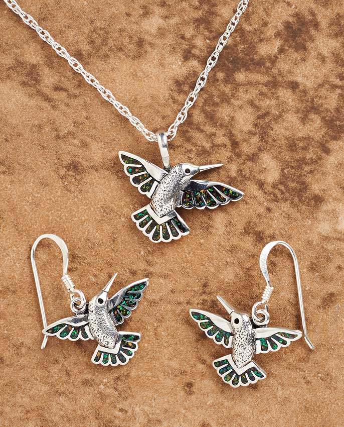 Silver & Opal Hummingbird Jewelry Collection