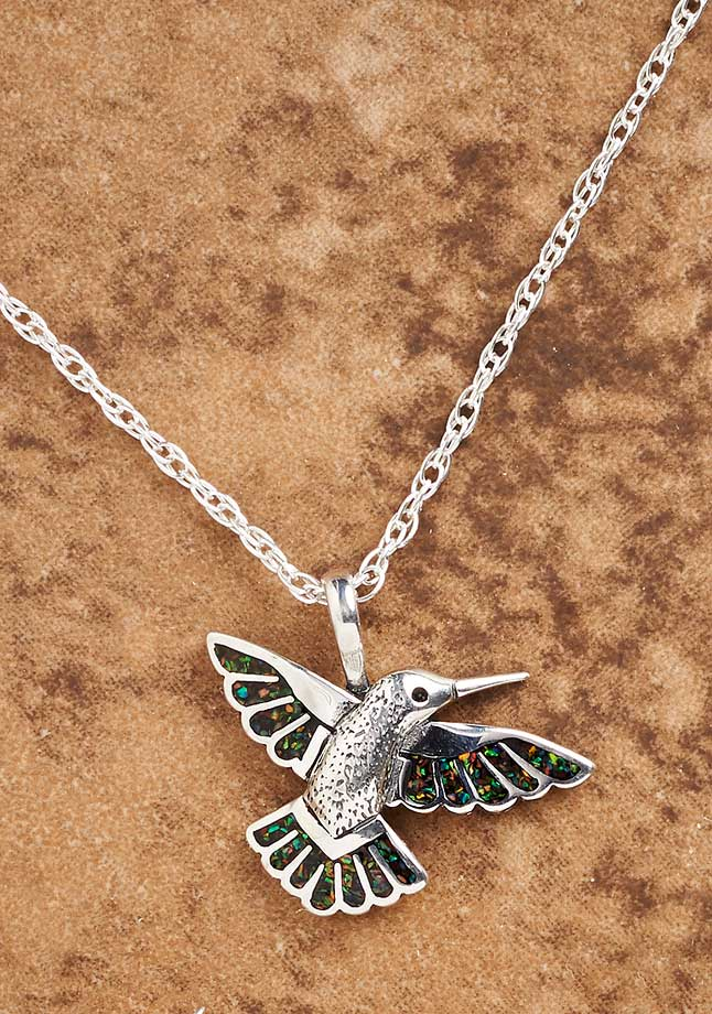 Silver & Opal Hummingbird Necklace