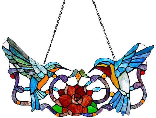 Hummingbirds And Flower Stained Glass