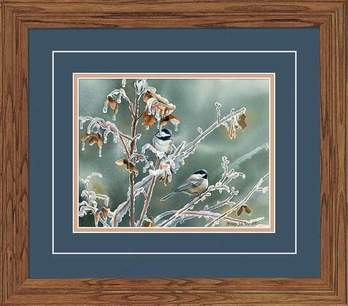 Ice Storm—chickadees Gna Deluxe Framed Print