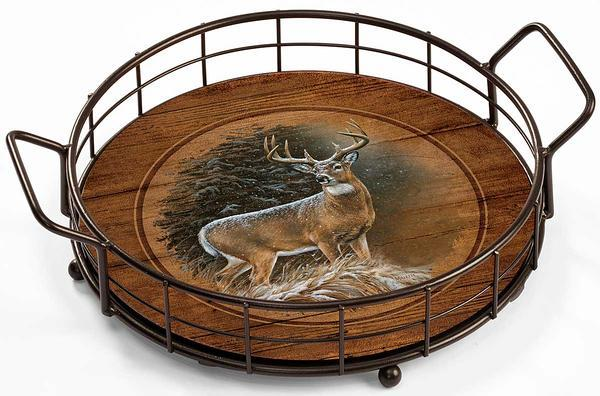 <I>In The Storm&mdash;whitetail Deer</i> Serving Tray