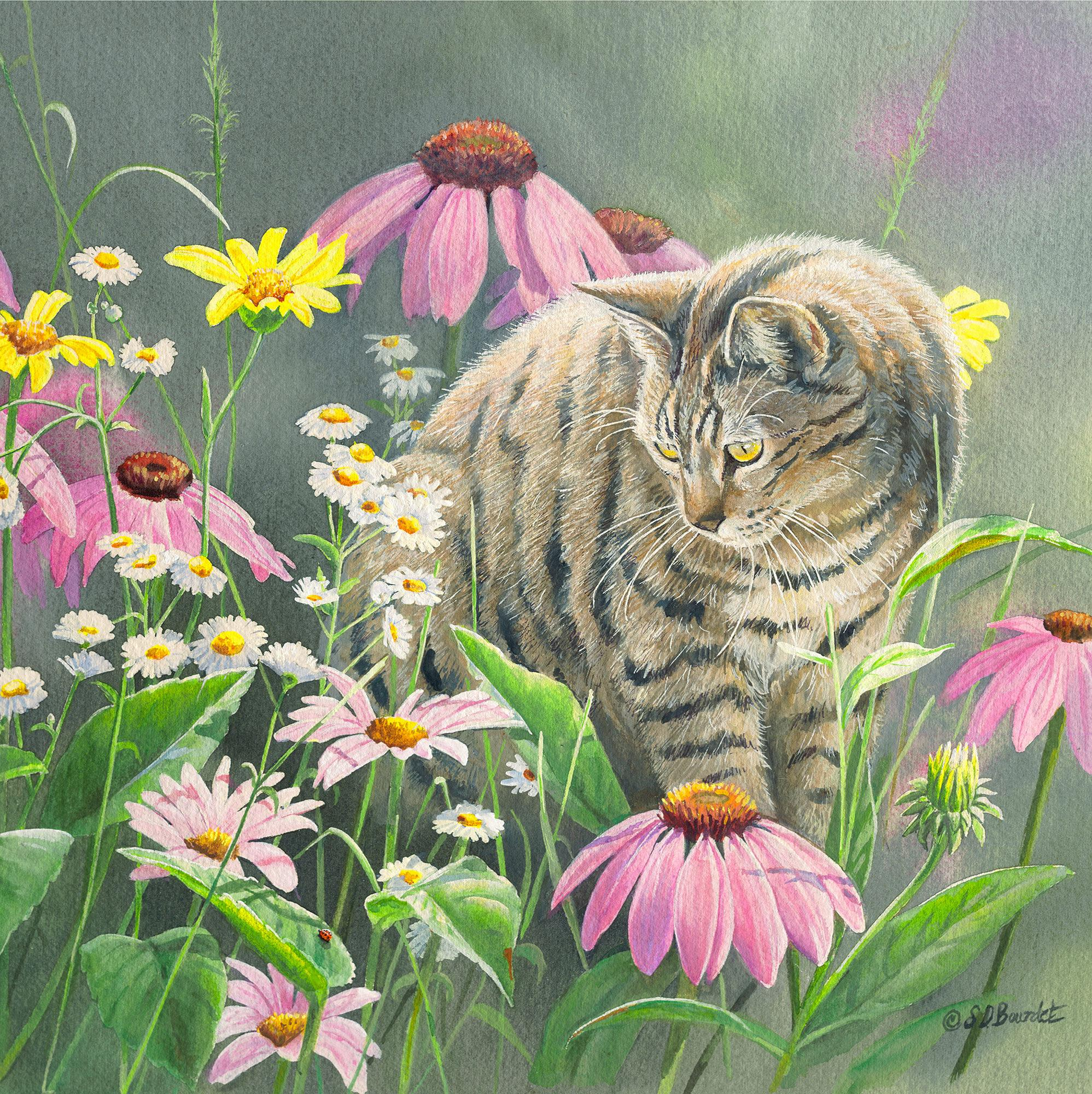 In the Wildflowers-Cat Art Collection