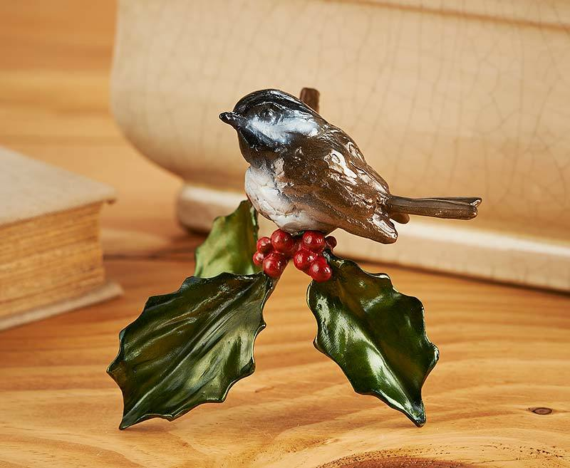 Joy Of The Season Chickadee And Holly Sculpture