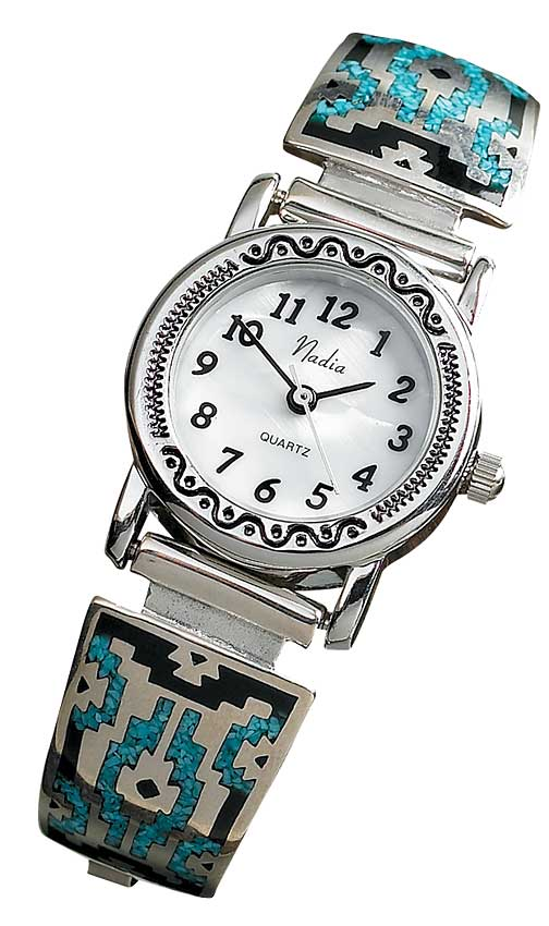 Southwestern Silver & Turquoise Ladies Watch