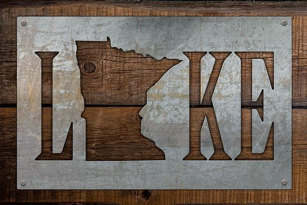 Lake Personalized State Wood Sign