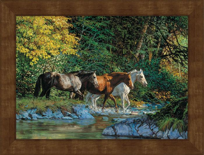 <I>Bear Creek Crossing&mdash;horses</i> Framed Studio Canvas<Br/>22H X 29W Art Collection
