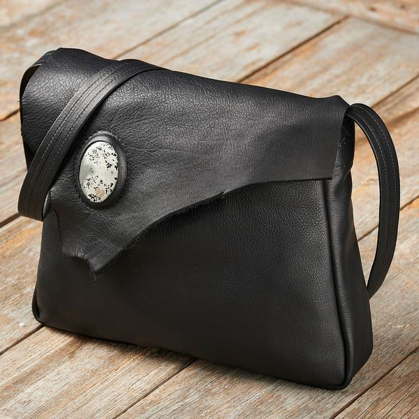Rough-Edge Leather Handbag