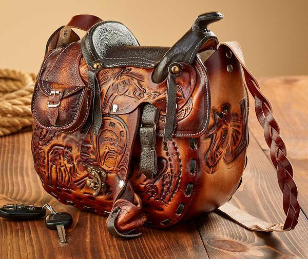 Tooled Leather Saddle Handbag