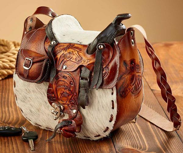 Cowhide Saddle Purse