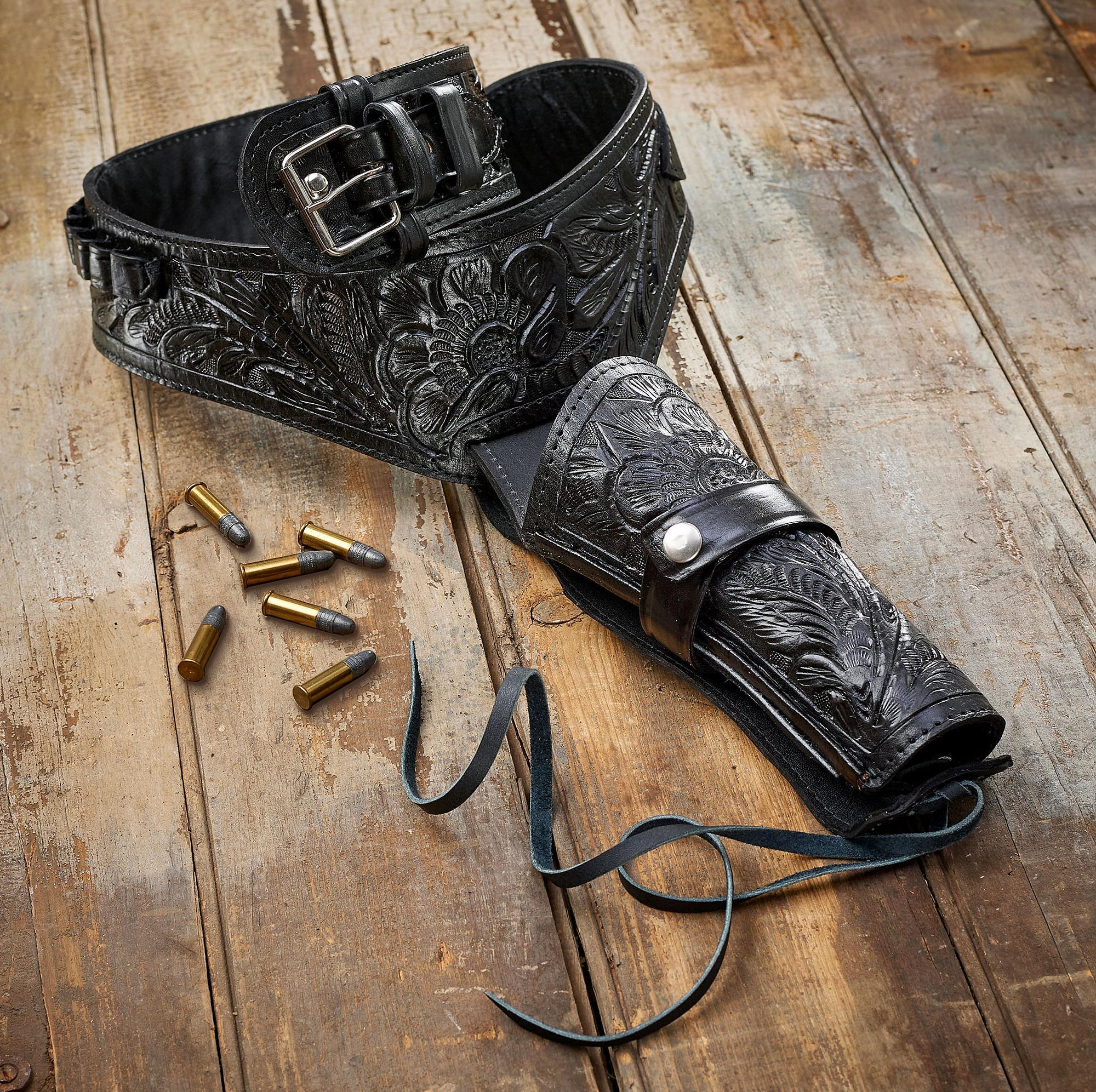 Black Leather Holster Belt Collection