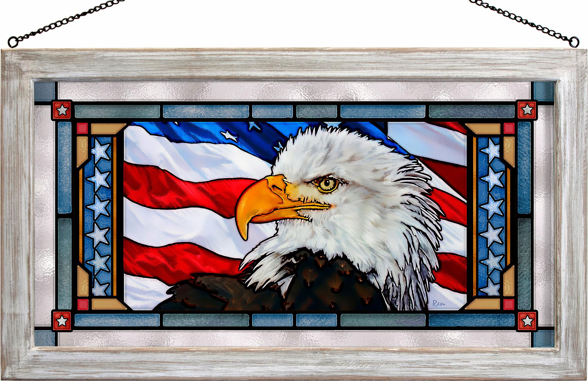 Let Freedom Ring-Bald Eagle Stained Glass Art