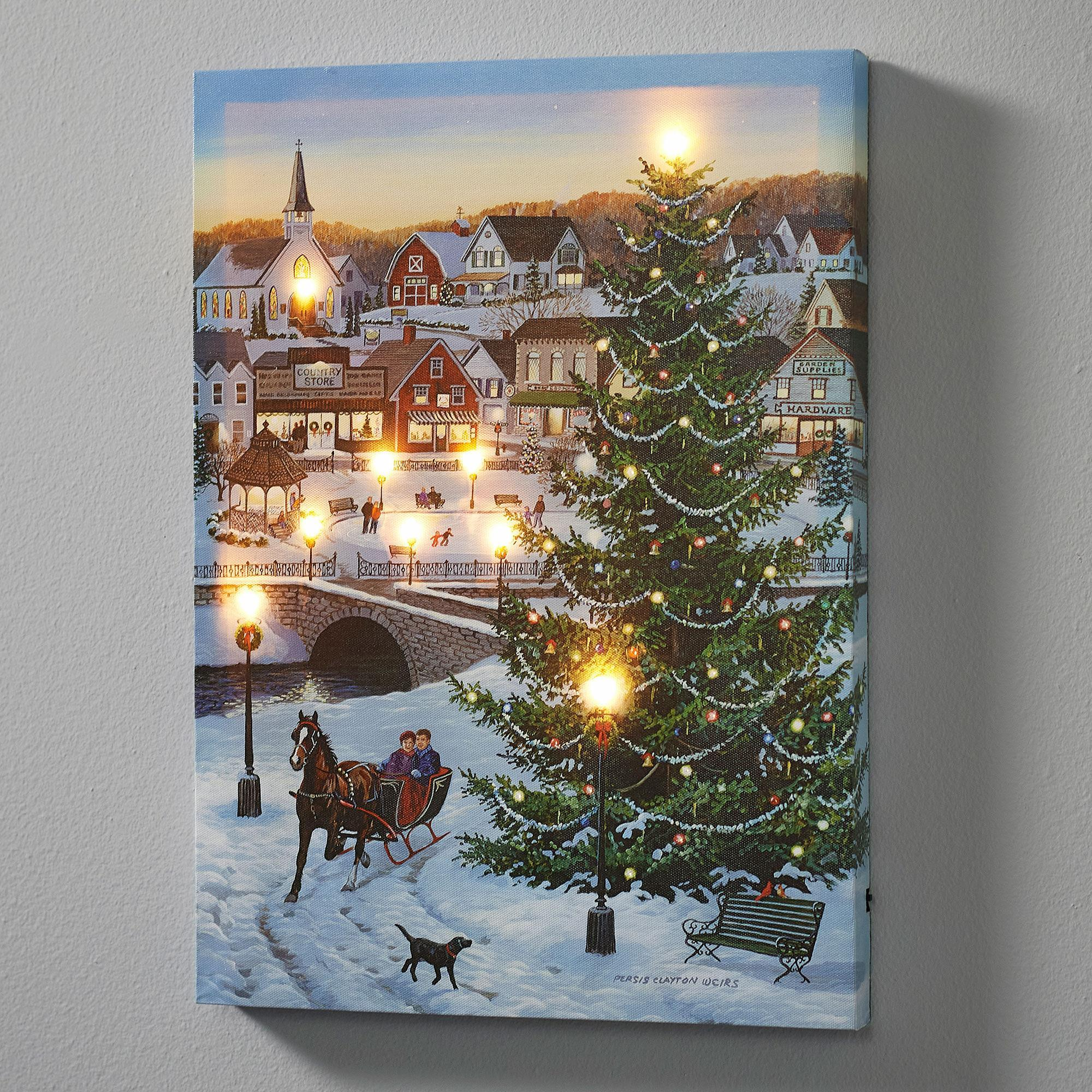 Christmas Village Lighted Wrapped Canvas