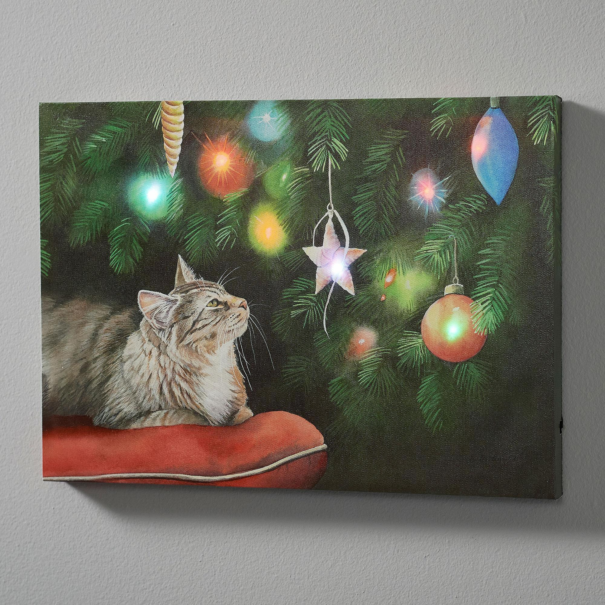 Holiday Dazzle-Cat Lighted Wrapped Canvas
