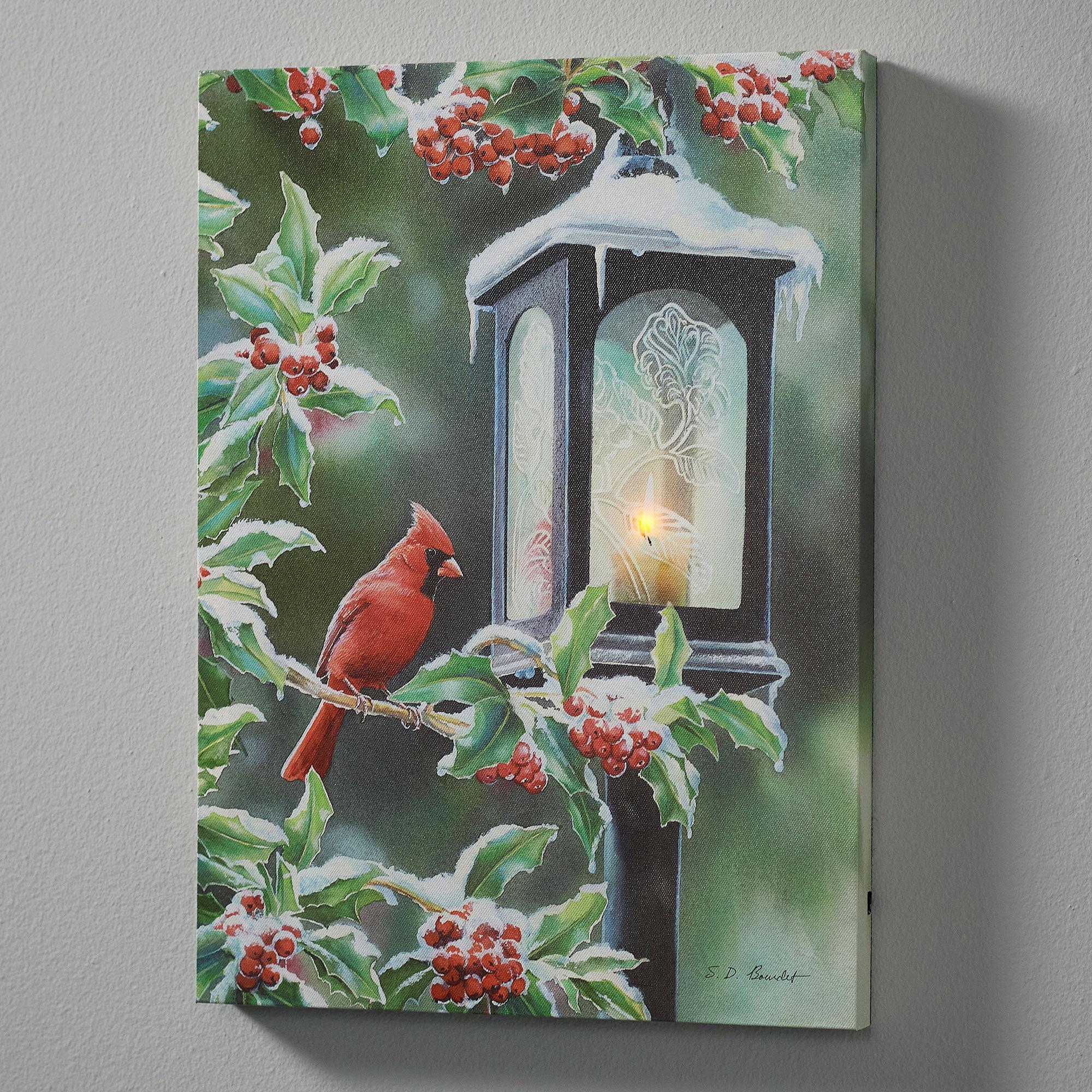 Winter Cardinal Lighted Wrapped Canvas