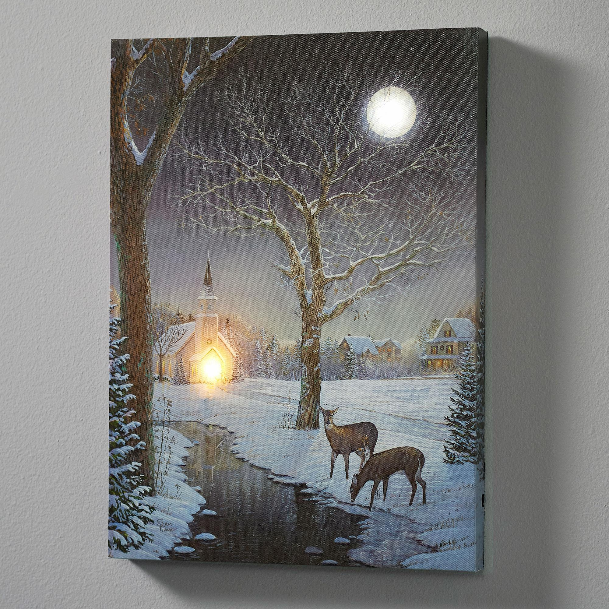 Winter Evening Lighted Wrapped Canvas