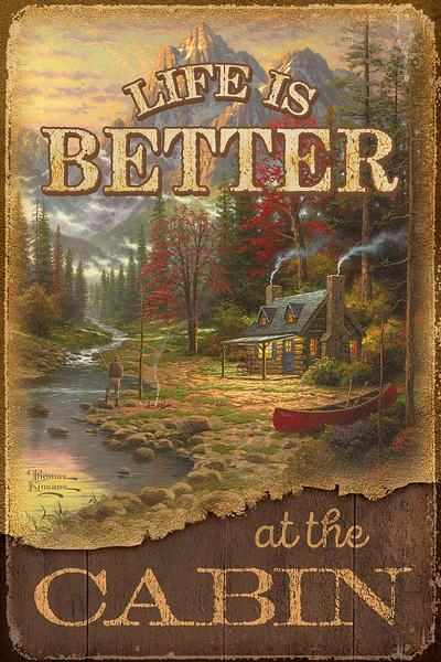 <I>Life Is Better At The Cabin</i> 12 X 18 Wood Sign