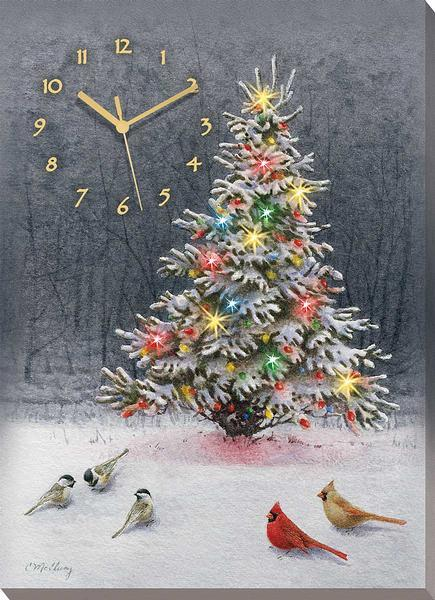 Christmas Tree Lighted Canvas Clock