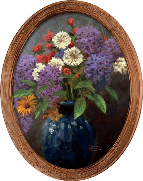<I>Lilac Bouquet</i> Framed Canvas Oval