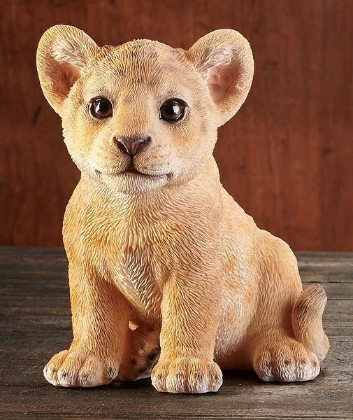 Sitting Lion Cub Sculpture