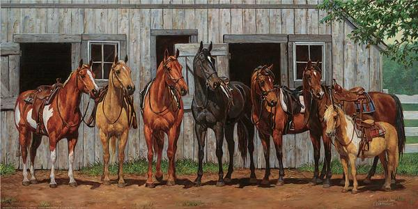 Little Partners Reunion-Horses Art Collection