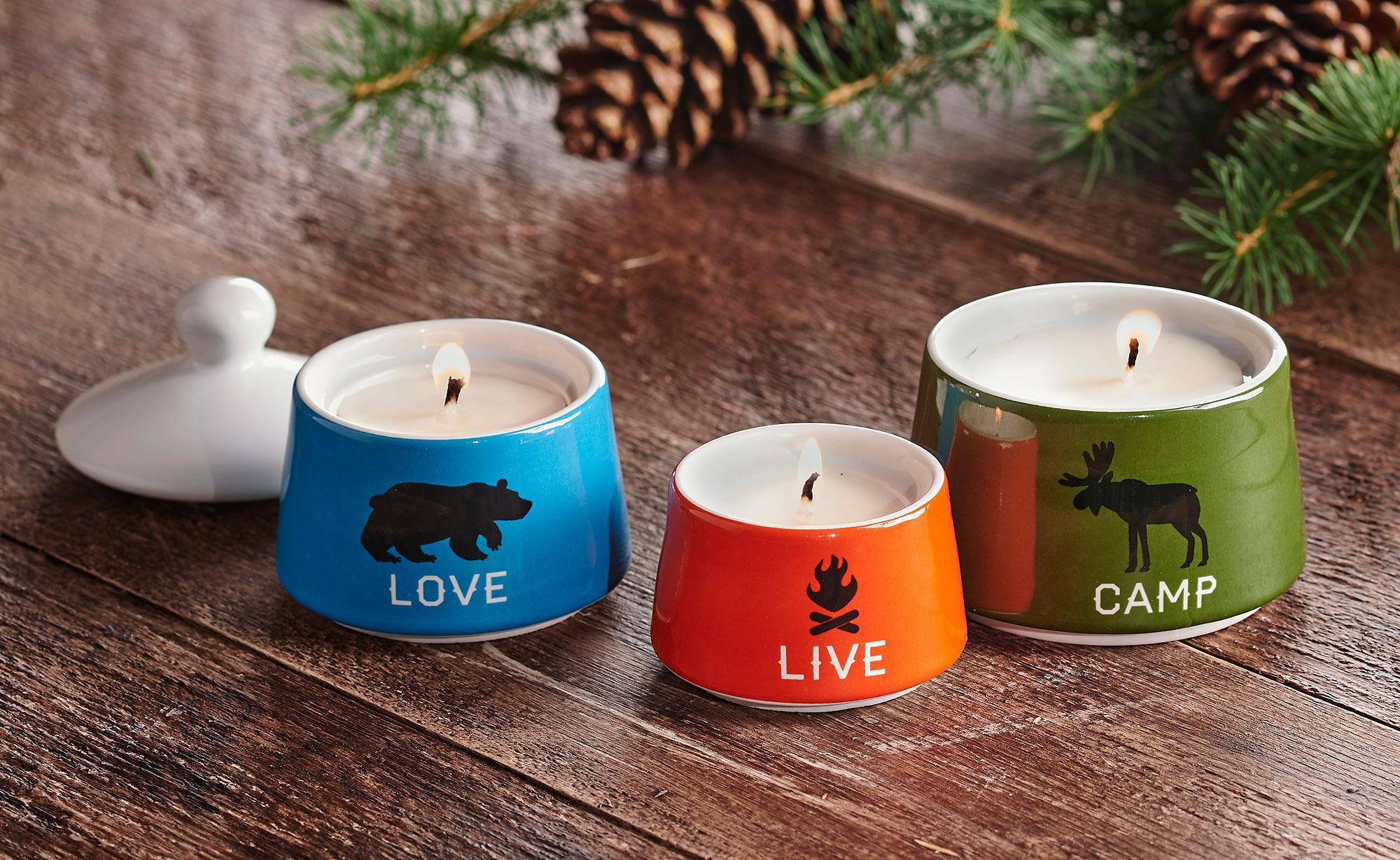 Live, Love, Camp Stacked Candles