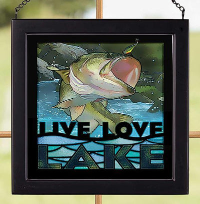 Live Love Lake—bass Stained Glass Art