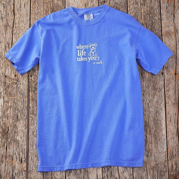 Walk Dog-Blue Short-sleeved Shirt