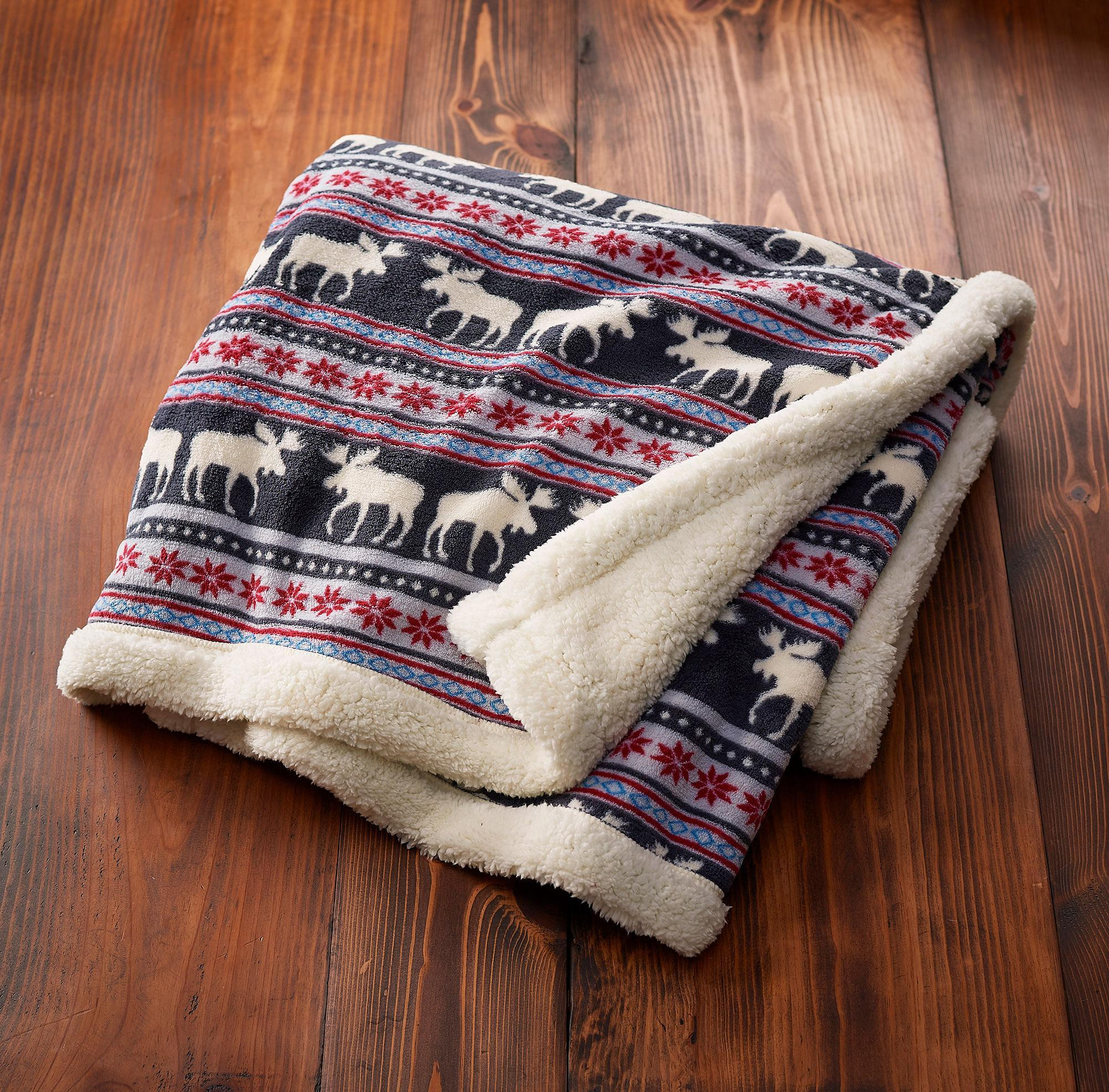 Lodge Fair Isle-Moose Throw Blanket
